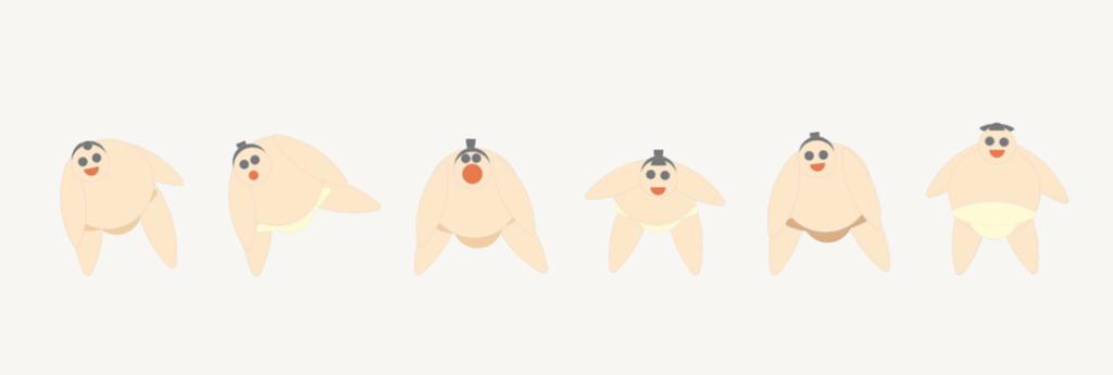 Lottatore di Sumo - Collage con i cartoni animali